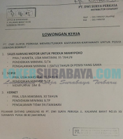 Loker Surabaya Terbaru di PT. Dwi Surya Perkasa Oktober 2019