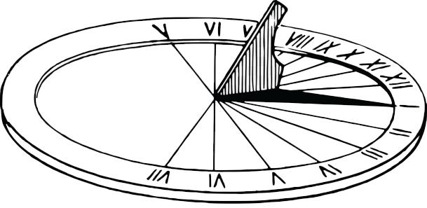 Este é um relógio de sol. Pinte-o bem bonito e em seguida fale um pouco sobre ele.