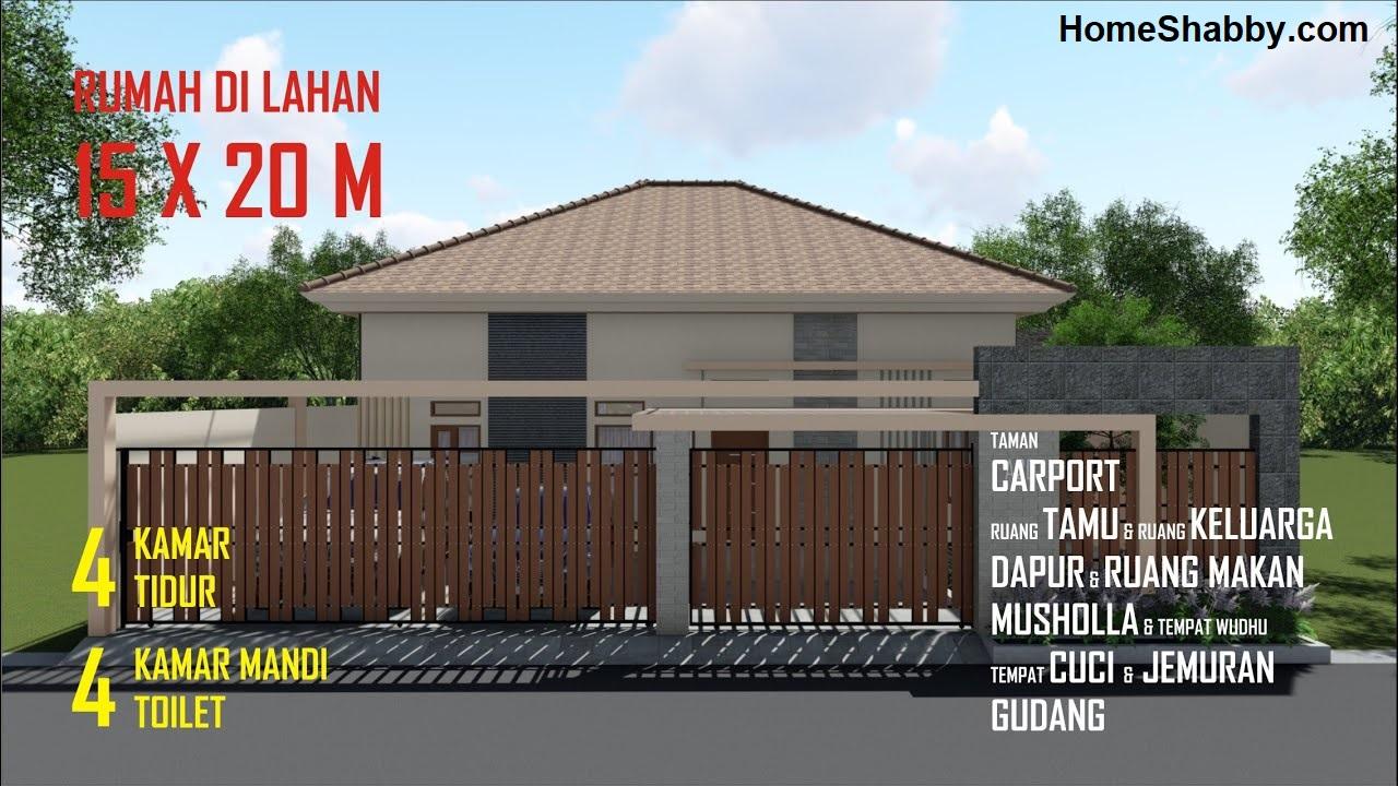 Desain Dan Denah Rumah Minimalis Ukuran 15 X 20 M Memiliki 4 Kamar Tidur Cocok Untuk Keluarga Besar Homeshabby Com Design Home Plans Home Decorating And Interior Design