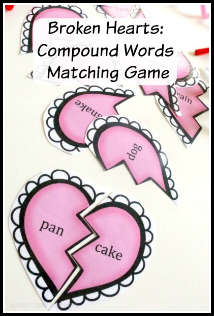 Valentine's Day Compound Words Matching Game | School Time ...