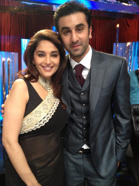 Ranbir Kapoor, Karan & Rishi Kapoor on the sets of 'Jhalak Dikhla Jaa' with Madhuri