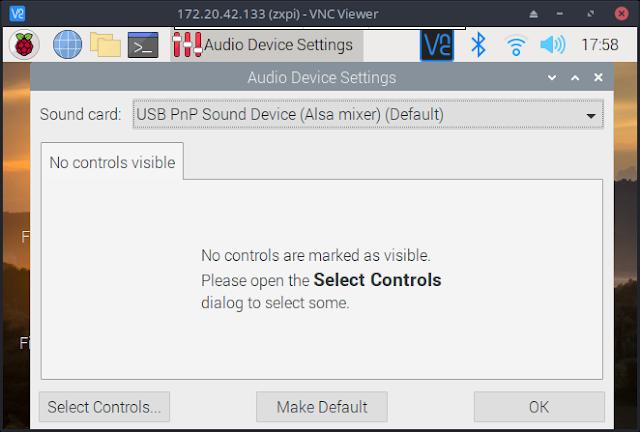 Raspberry Pi USB Audio Adapter Setup Screen