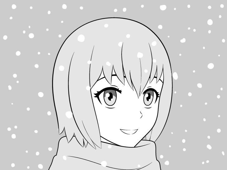 Gadis anime dalam gambar salju