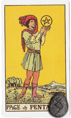 Page of Pentacles Original Rider Waite Tarot Runes Jera