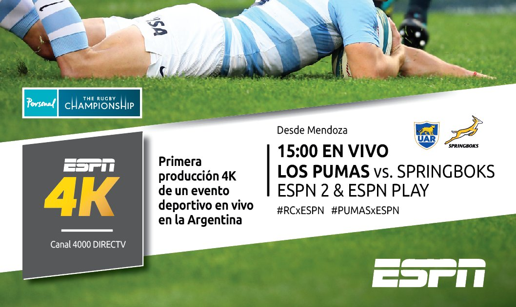 Argentina - Sudáfrica (en vivo, Rugby Championship, ESPN 2)