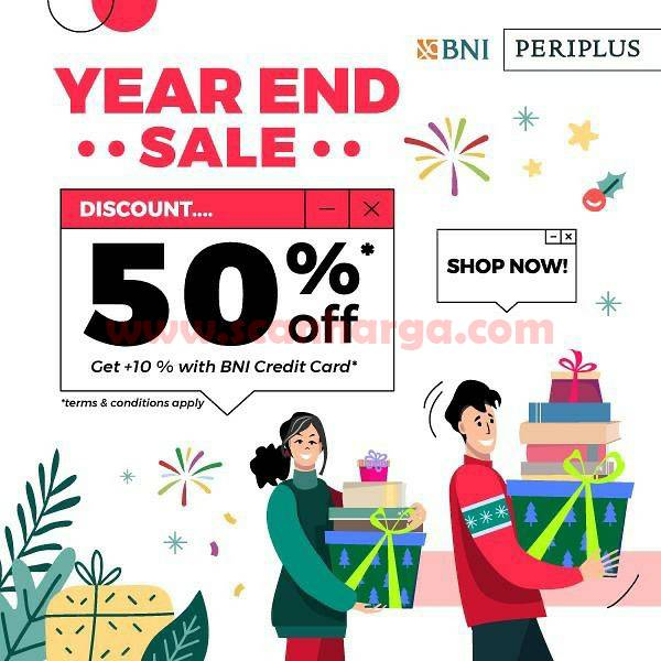 Periplus YEAR END SALE Get Disc 50% off + 10% with BNI Credit Card.