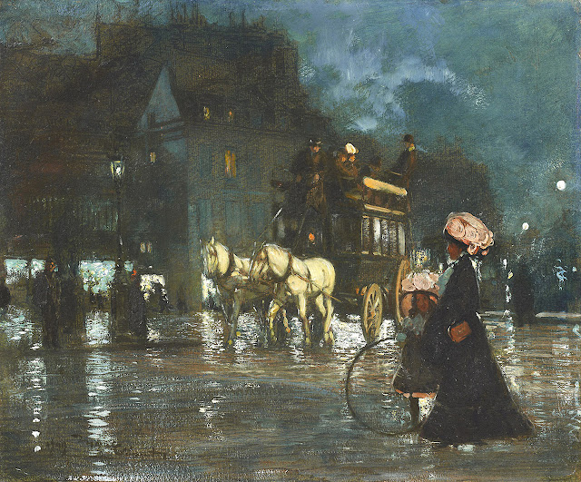 Amedee Marcel-Clement - Night-time in Paris