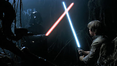 Dart Vader and Luke Skywalker lightsaberfighting