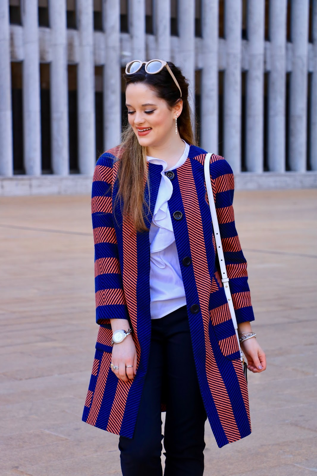 striped topcoat