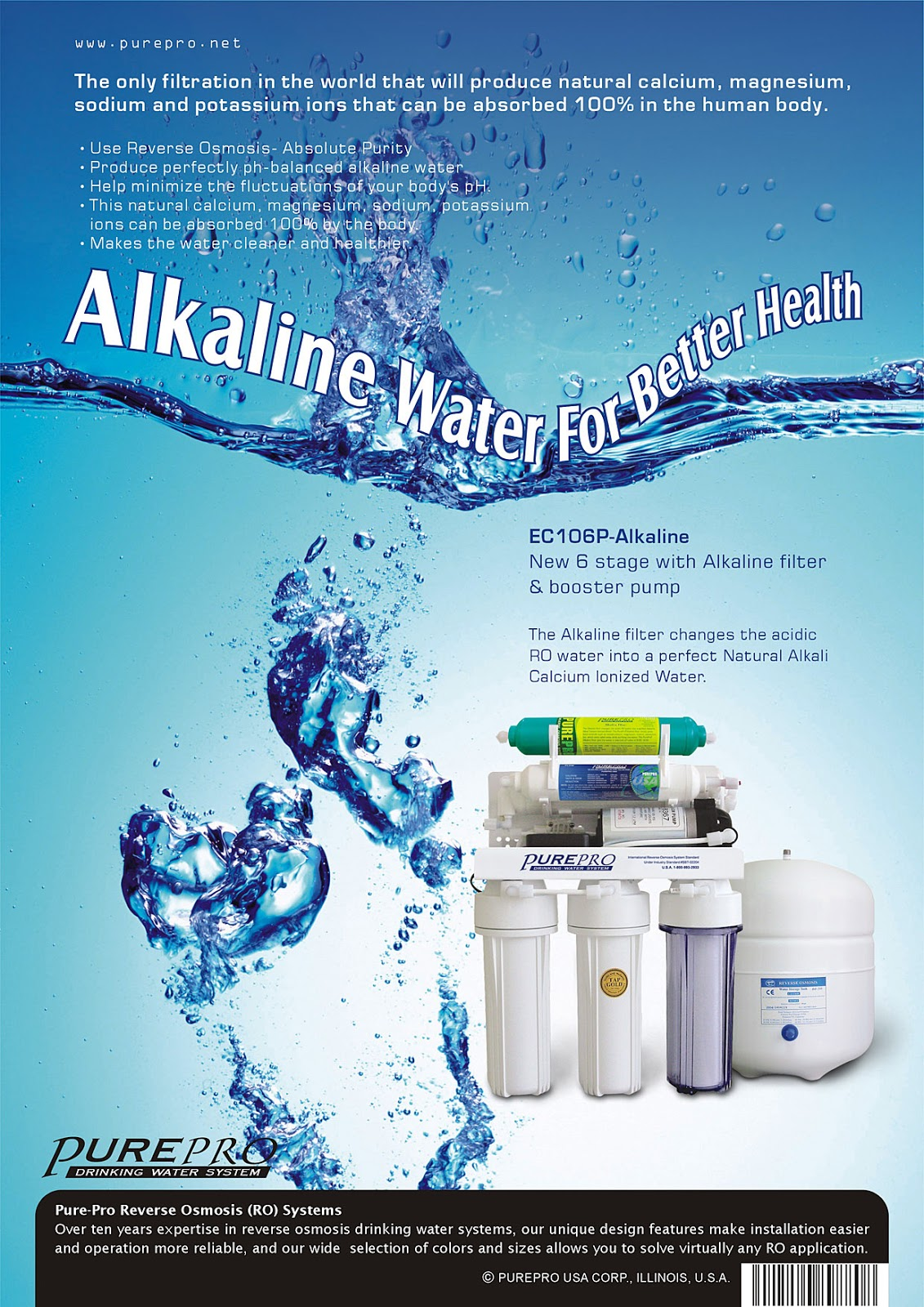 PurePro® EC106P-Alkaline Reverse Osmosis Filter System