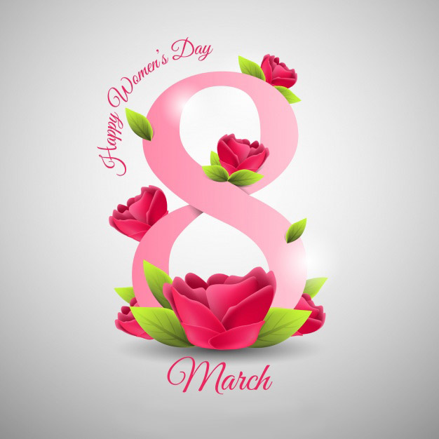 Happy women's day background in realistic style Free Vector
