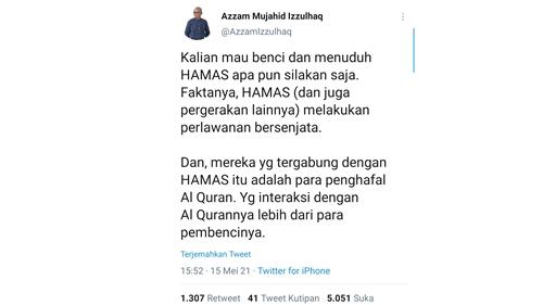 Hamas Kerap Disebut Teroris, Azzam Mujahid: Mau Benci atau Menuduh Silakan, tetapi Faktanya Mereka Penghafal Al-Qur'an!
