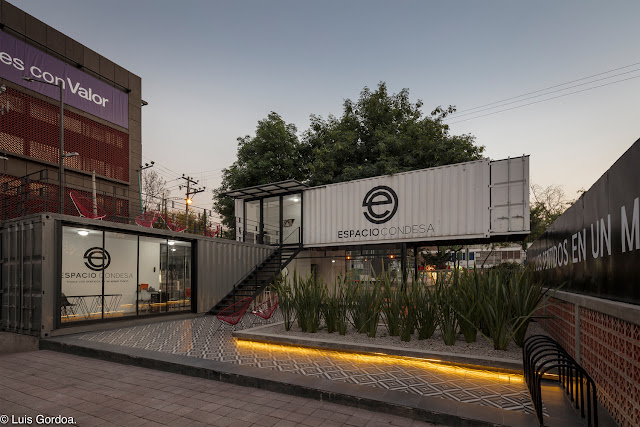 2 Story L-Shaped Shipping Container Office Building, Mexico 7