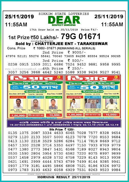 Sambad lottery 25-11-2019 Sikkim State Lottery Result 11.55 AM-lotterysambadresults.com