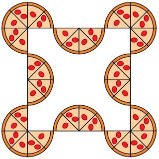 OBMEP 2019 A figura abaixo foi formada com pizzas de mesmo tamanho, cada uma dividida em oito pedaços iguais