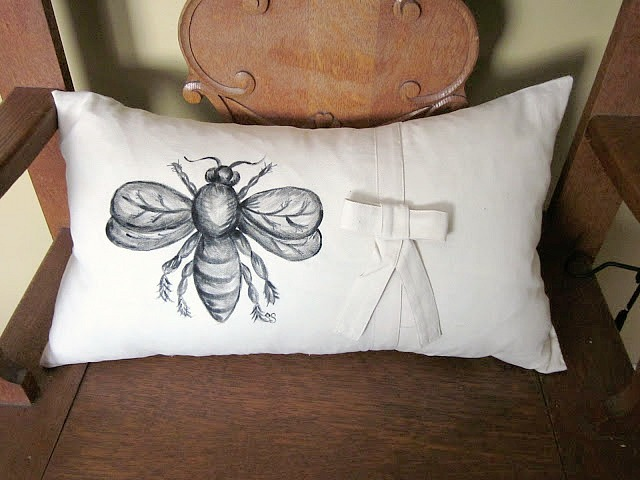 Hand painted bee designed hand made pillow