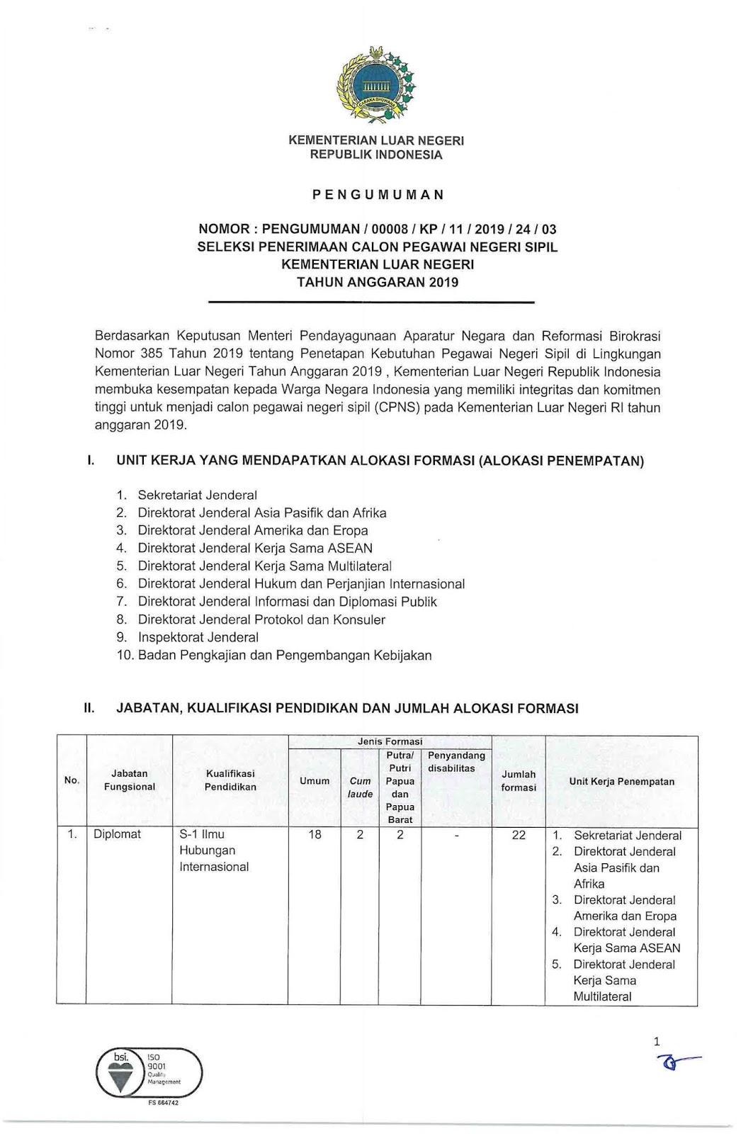 Rekrutmen CPNS Kementerian Luar Negeri Tahun Anggaran 2019 [132 Formasi]