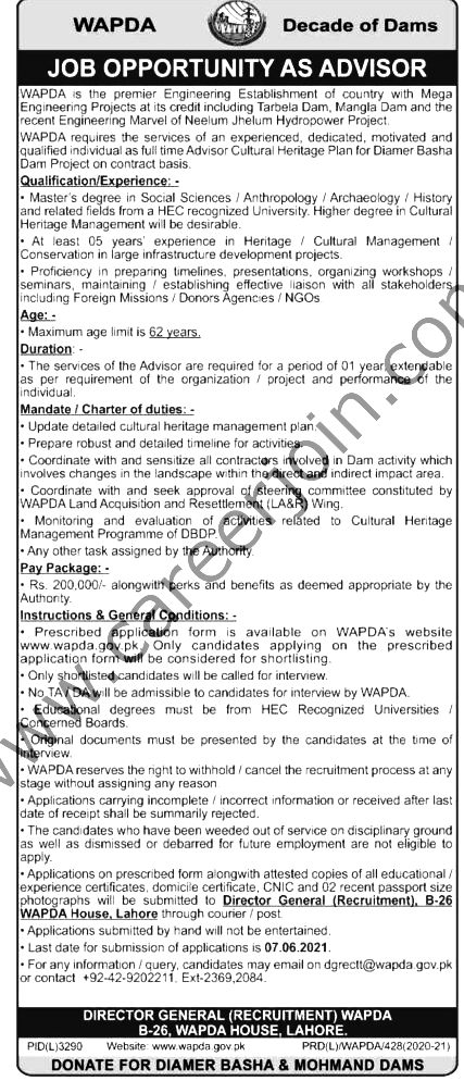 Latest Jobs in Pakistan WAPDA 2021