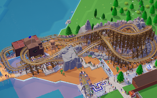 Parkitect roller coaster scene
