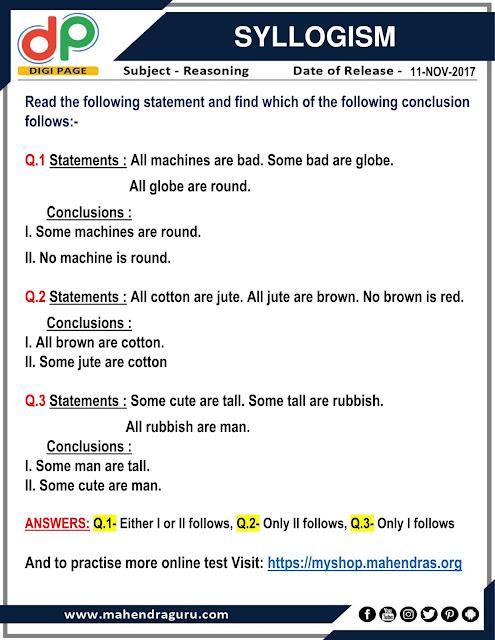 DP | Syllogism For IBPS Clerk  | 11 - 11  - 17