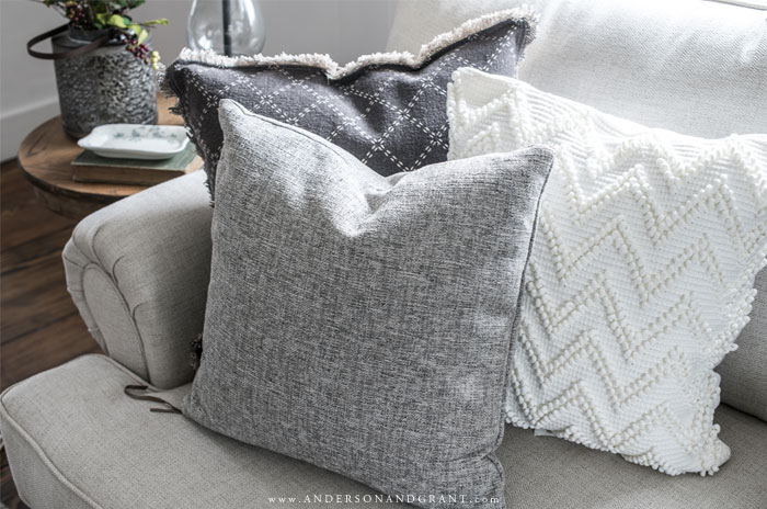 Three throw pillows