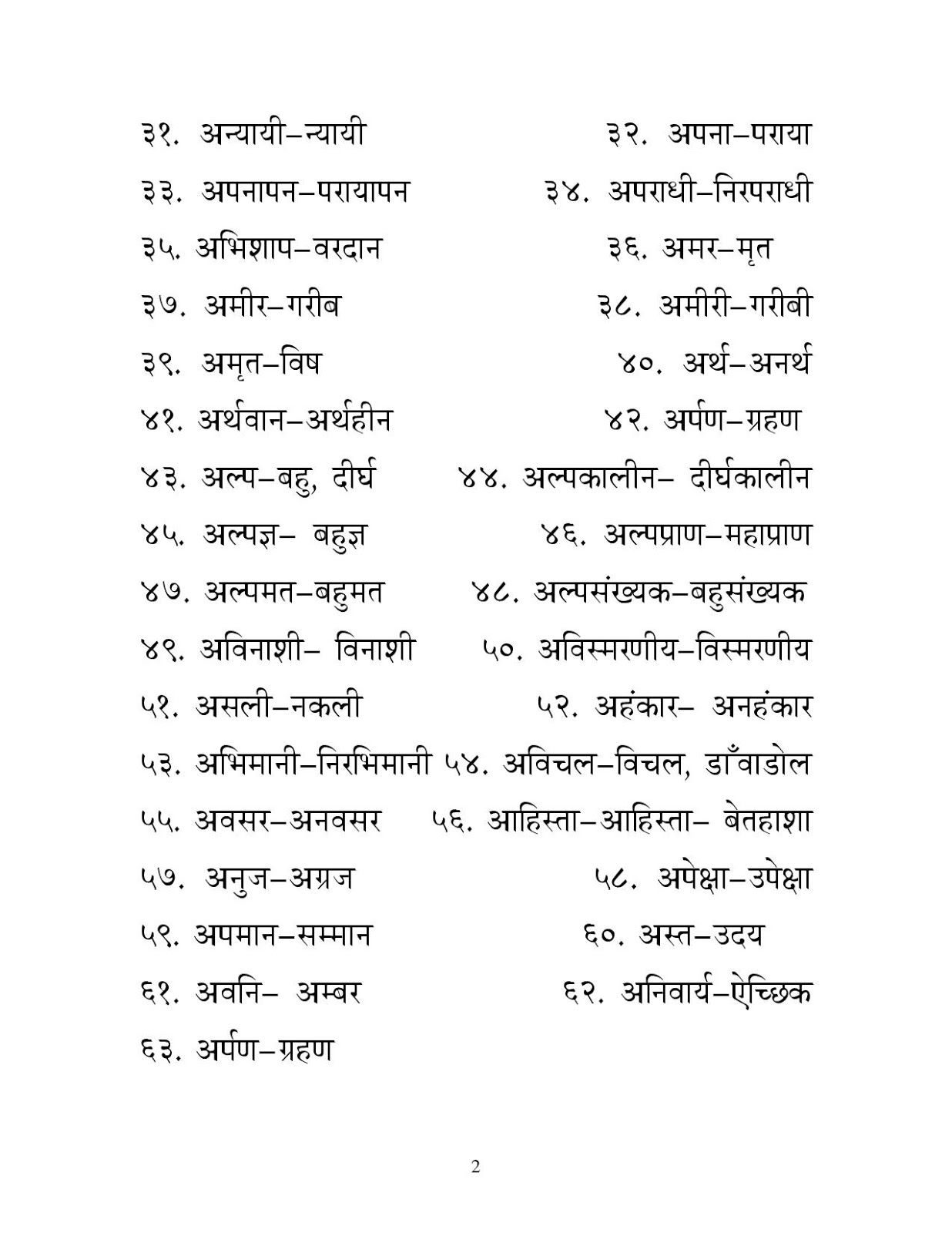 Hindi Opposite Words