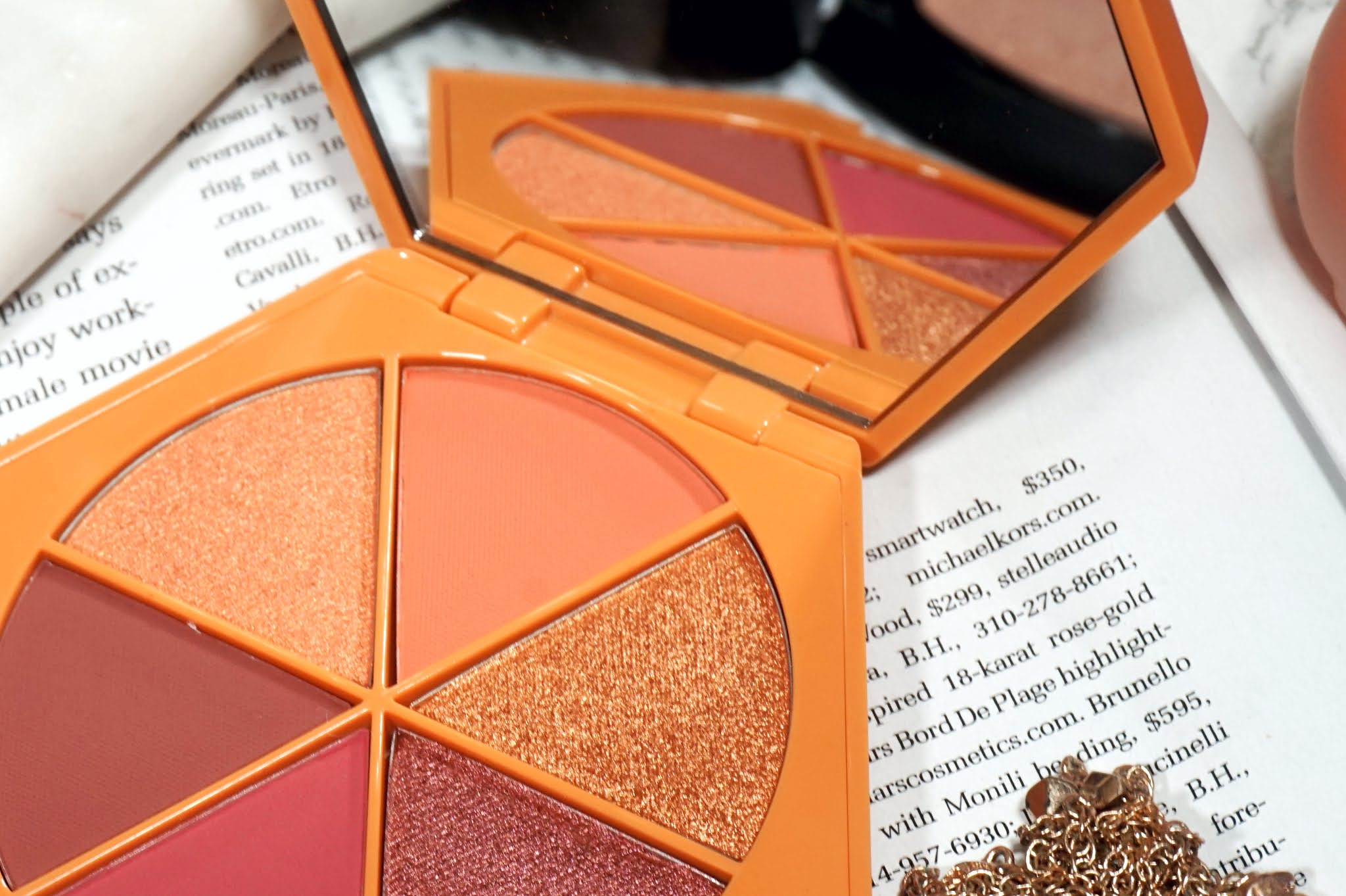 Em Cosmetics Divine Skys Eyeshadow Palette in Faded Clementine Review and Swatches