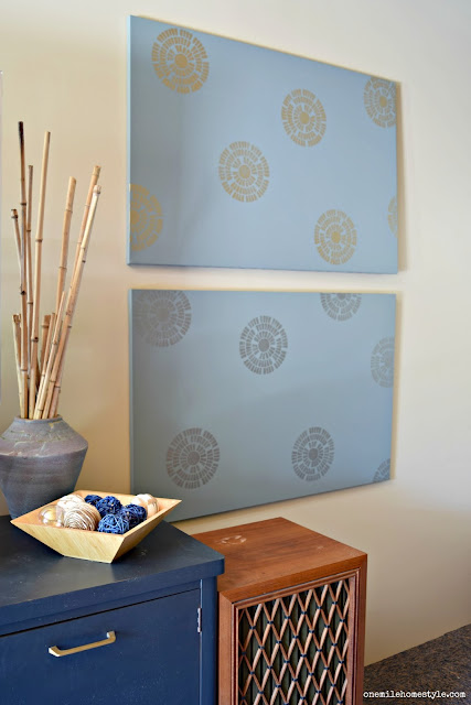 Make your own mixed metallics stenciled wall art to add some fun to your walls - One Mile Home Style