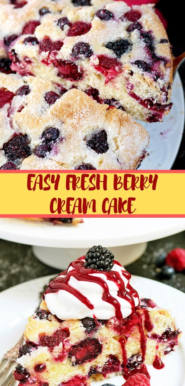 EASY FRESH BERRY CREAM CAKE #easy #cream #cake