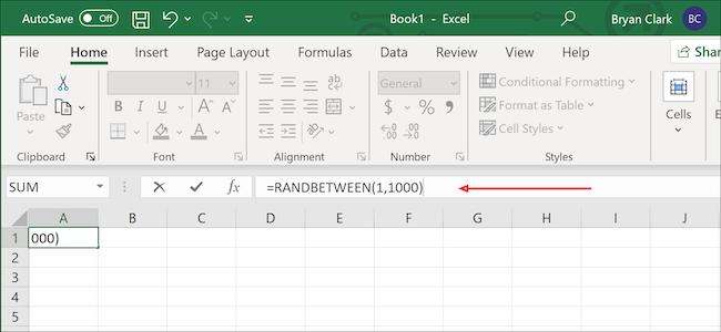 صيغة رقم عشوائي Excel