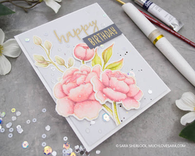 Honey Bee Stamps, Spring Peony Stamp Set, Thanks a Bunch Stamp Set, Altenew Watercolor Paint, Birthday Card