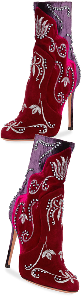 Aquazzura Embroidered Velvet Studded Bootie