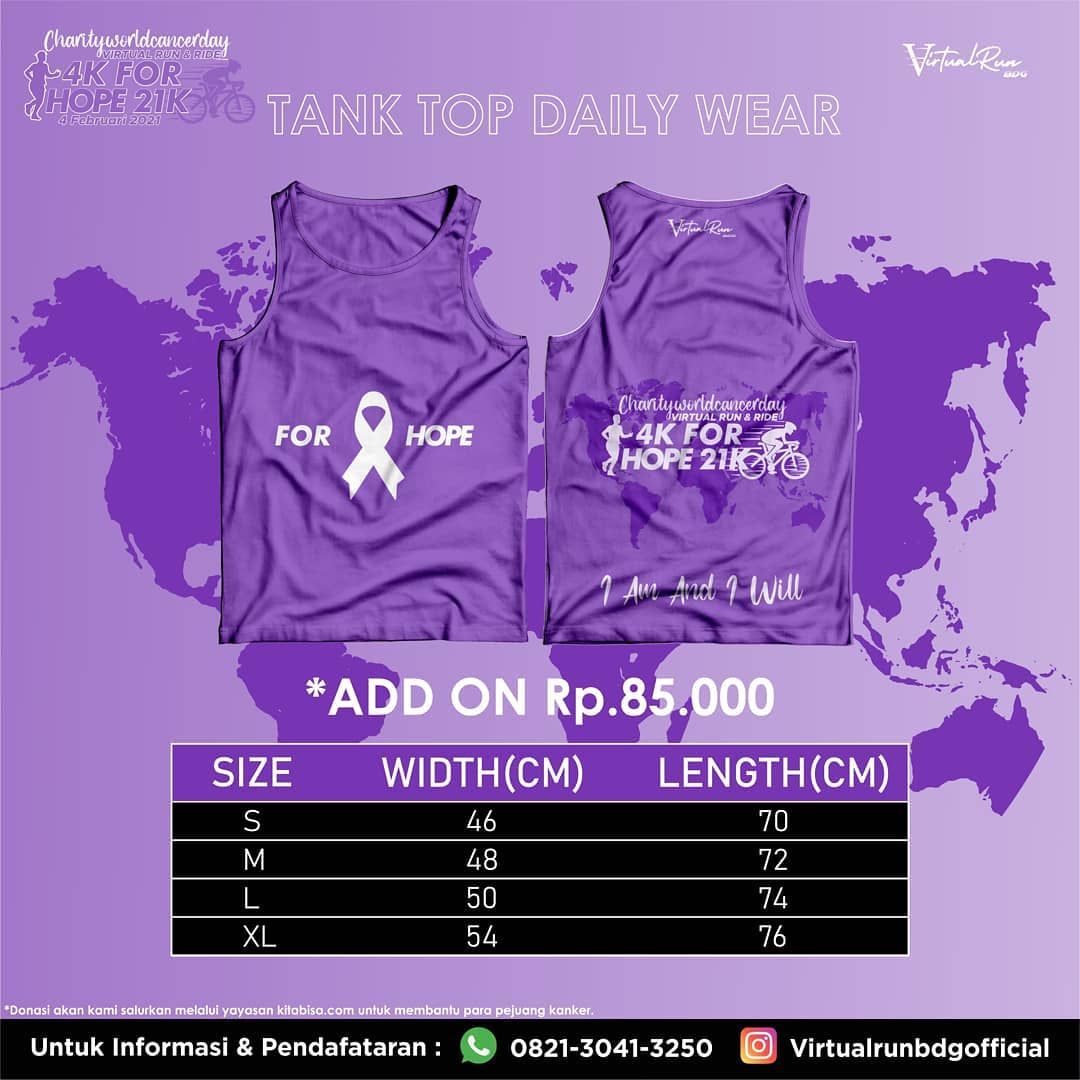 Jersey 🎽 Charity World Cancer Day - Virtual Run & Bike for HOPE • 2021