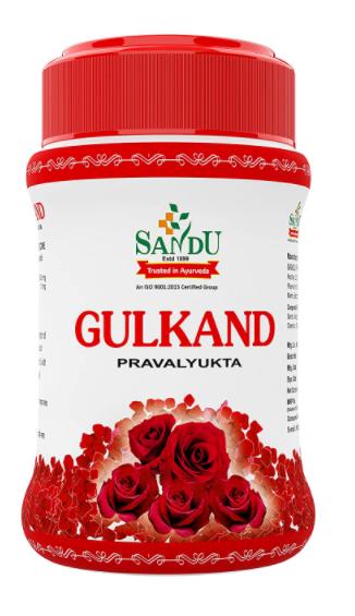 Sandu Gulkand (Pravalyukta) | Made Using Organic Hand-Picked Rose Petals | Excellent Coolant (400 g)