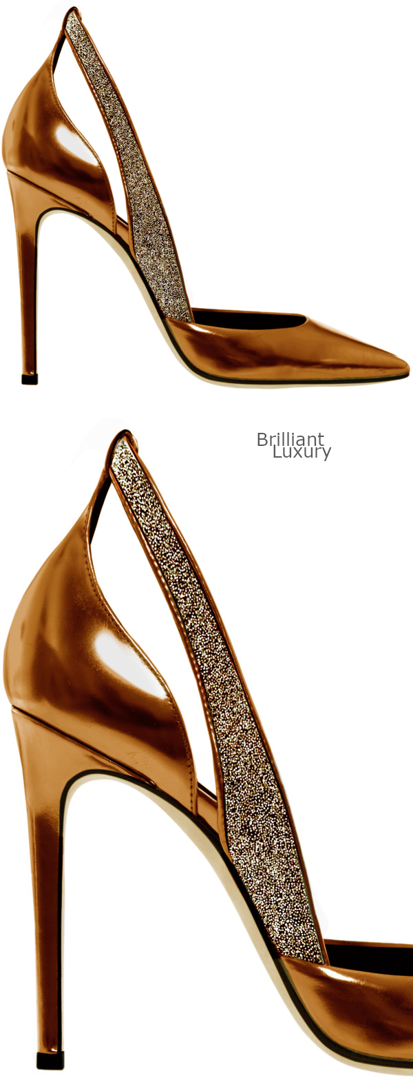 Brilliant Luxury♦Bronze crystal metallic pumps