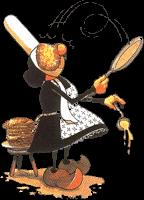 Bretonne qui fait sauter des crêpes
