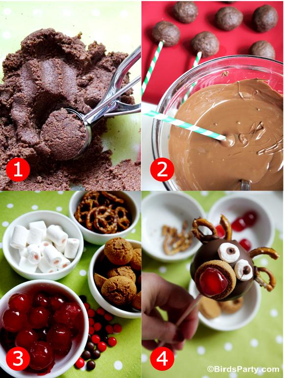 Rudolph Chocolate Cake Pops Recipe - BirdsParty.com