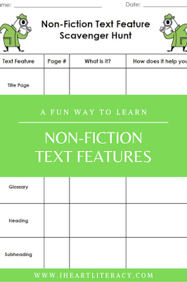 Free Nonfiction Text Features Scavenger Hunt - Free literacy resources from iHeartLiteracy #nonfiction #textfeatures #ela #teaching