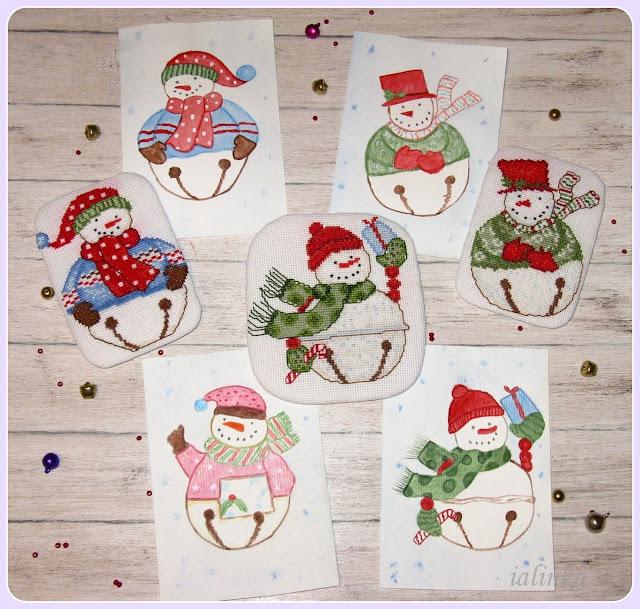 snowbells вышивка и рисунок акварелью