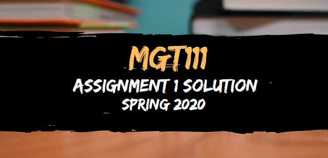 MGT111 Assignment 1 Solution Spring2020