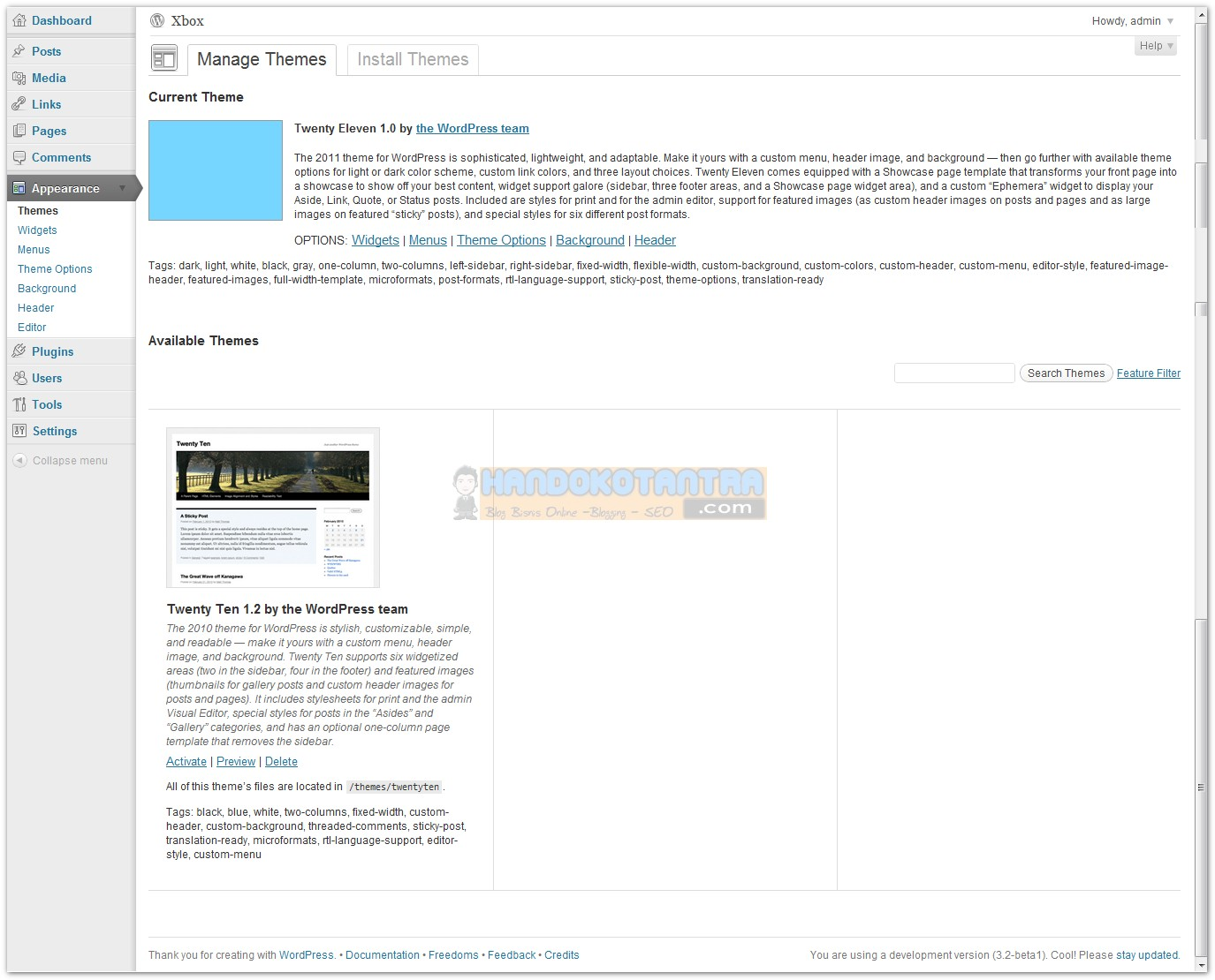 Theme Option WordPress versi 3.2