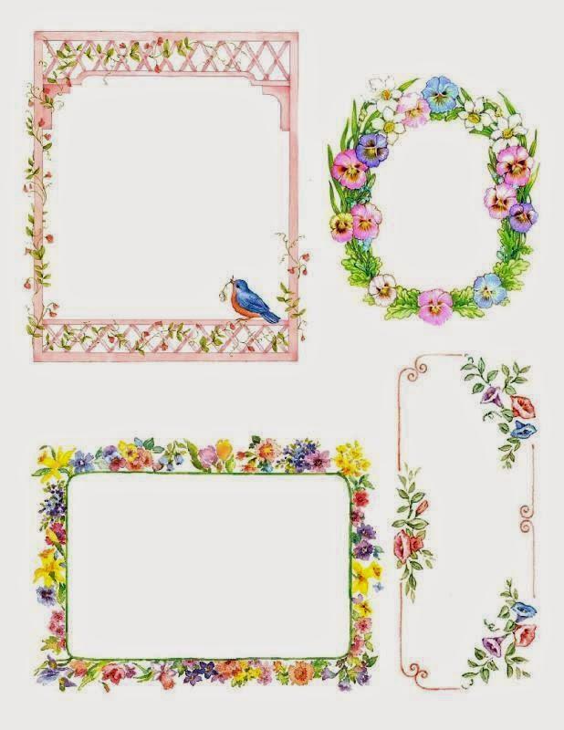 Etiquetas o Marcos con Flores para Imprimir Gratis.