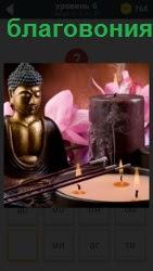 Изображение статуи и палочки над свечами. В результате распространяются благовония по всей комнате