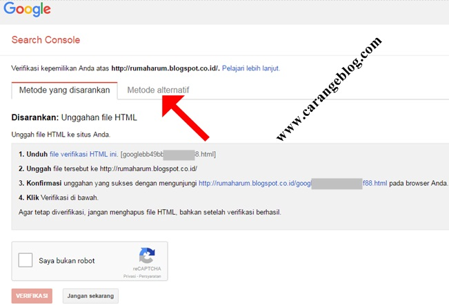 Cara Verifikasi Blog di Google Webmaster Tools/Search Console