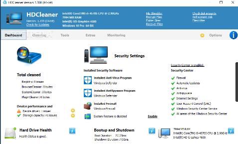 تنزيل HDCleaner HDCleaner لتسريع الكمبيوتر
