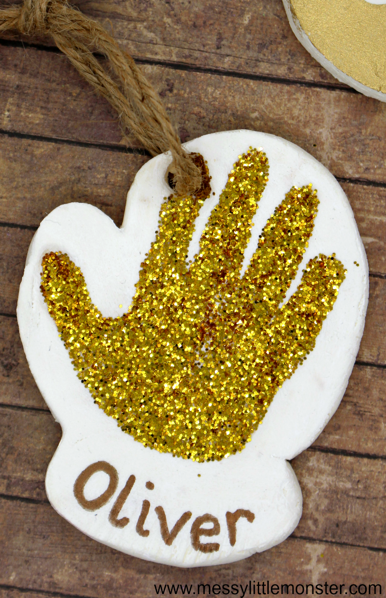 Baby handprint ornament. Clay handprint crafts.