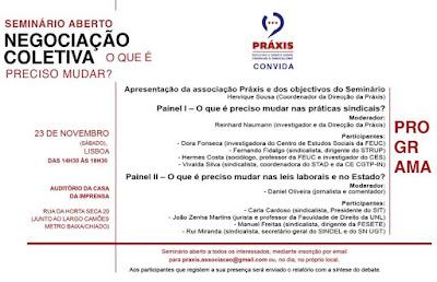 23 de novembro: Seminário da Práxis sobre Negociação Coletiva