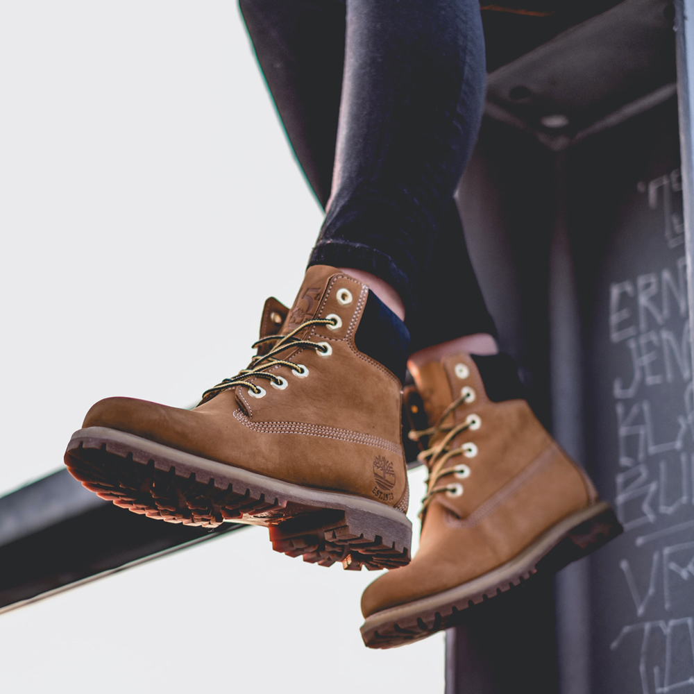 a close up photo of combat boots