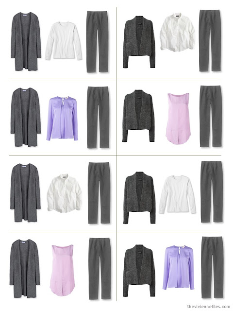 A travel capsule wardrobe in grey, white, pink, and purple