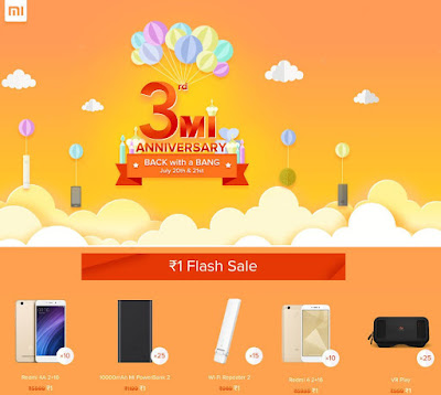 Xiaomi Mi 3rd Anniversary sale on July 20 and 21